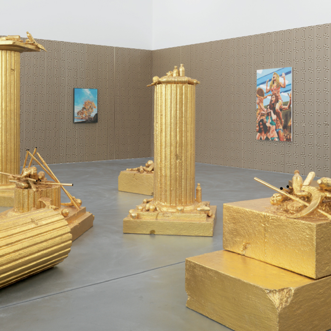 "View of ""John Miller,"" 2009, Kunsthalle Zürich. Foreground: A Refusal to Accept Limits, 2009. Background, from left: A Powerful Prayer, 1994; Untitled, 1986."
