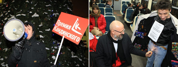 Left: Gathering for the ArtTrain at the Belorussky Voksal. Right: Artist Oleg Kulik admires artist Sasha Petrelli's Overcoat Gallery on board the ArtTrain. (Photos: Sergey Shakhidzhanyan)