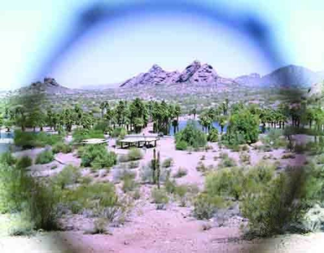 "Matts Leiderstam, View (Papago Park), 2007, one of nine color photographs, 12 3/4 x 15""."