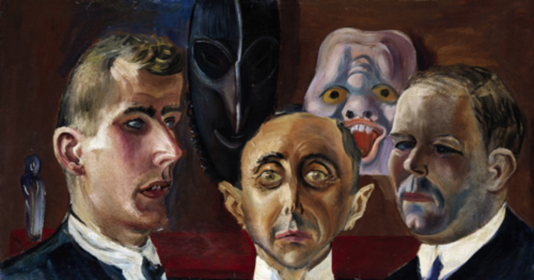 "Otto Dix, Group Portrait, Guenther Franke, Paul Ferdinand Schmidt, and Karl Nierendorf, 1923, oil on canvas mounted on wood, 15 3/4 x 29 1/8""."