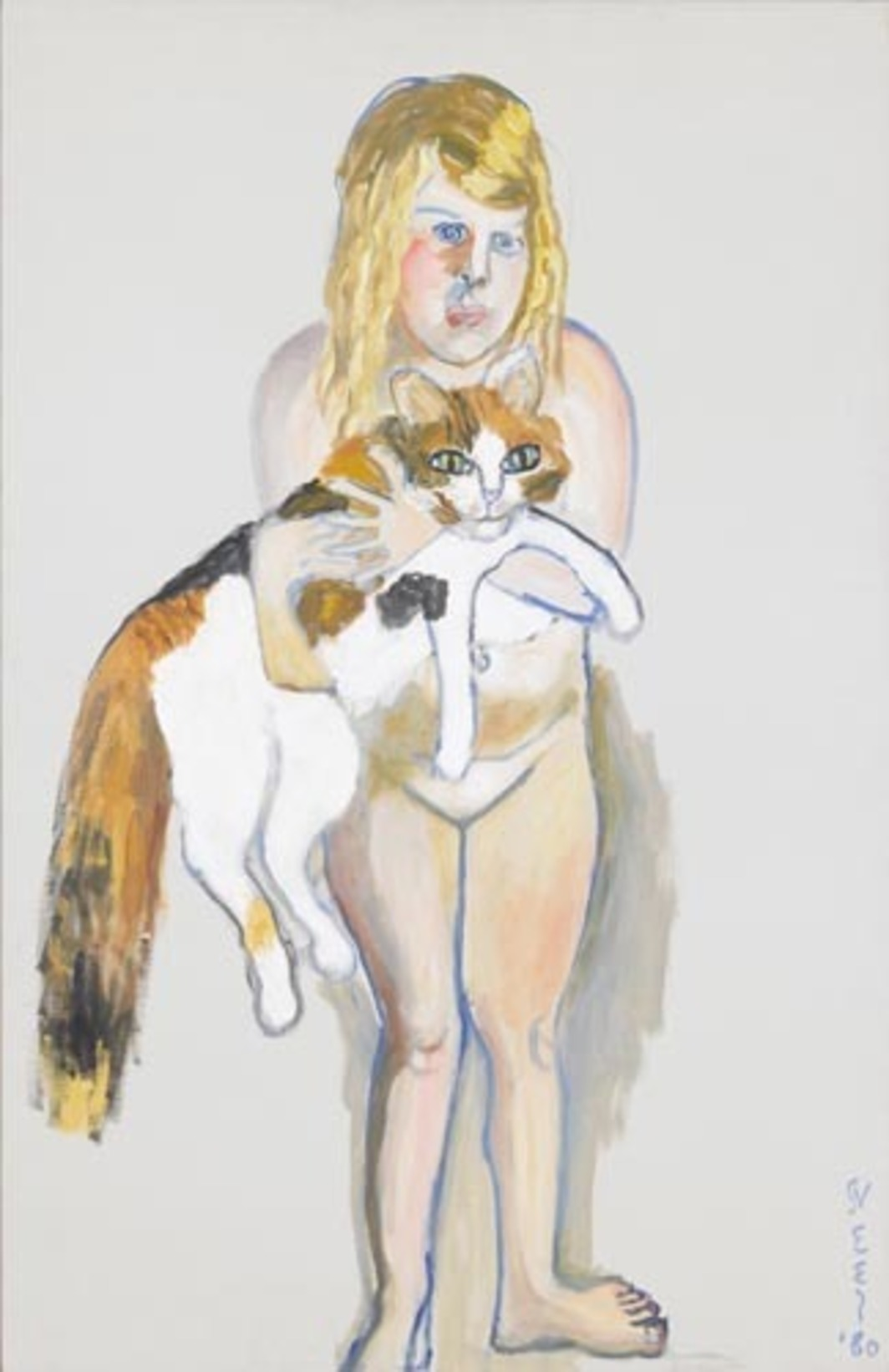 "Alice Neel, Victoria and the Cat, 1980, oil on canvas, 39 3/4 x 25 1/2""."