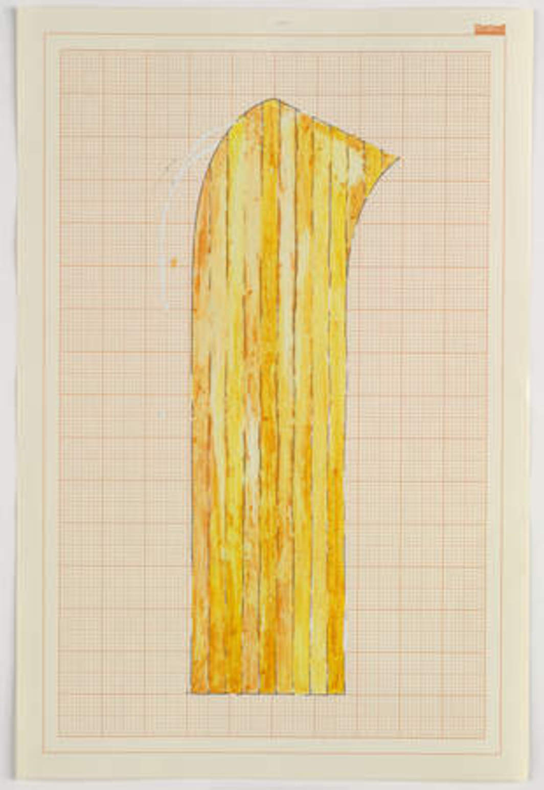 "Rachel Whiteread, Study for Wax Floor, 1992, correction fluid, ink, and watercolor on graph paper. 17 7/8 x 12""."