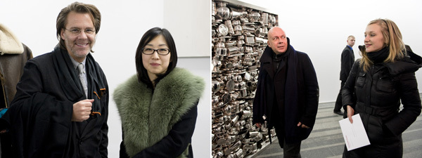 Left: Dealers Peter Nagy and June Y. Gwak. Right: Peter Doroshenko with a guest. (Photos: Sergei Illin)