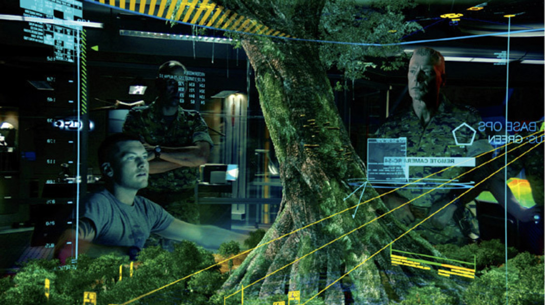James Cameron, Avatar, 2009, still from a color HD video, 162 minutes. Jake (Sam Worthington, left) and Quaritch (Stephen Lang, right).