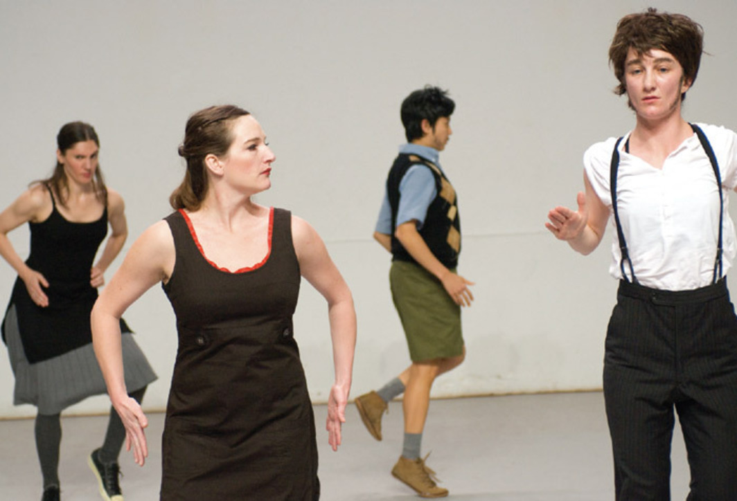 Deborah Hay, If I Sing to You, 2008. Rehearsal view, Huis aan de Werf, Utrecht, the Netherlands, April 15, 2008. From left: Juliette Mapp, Amelia Reeber, Michelle Boulé, and Jeanine Durning. Photo: Anna van Kooij for Springdance.