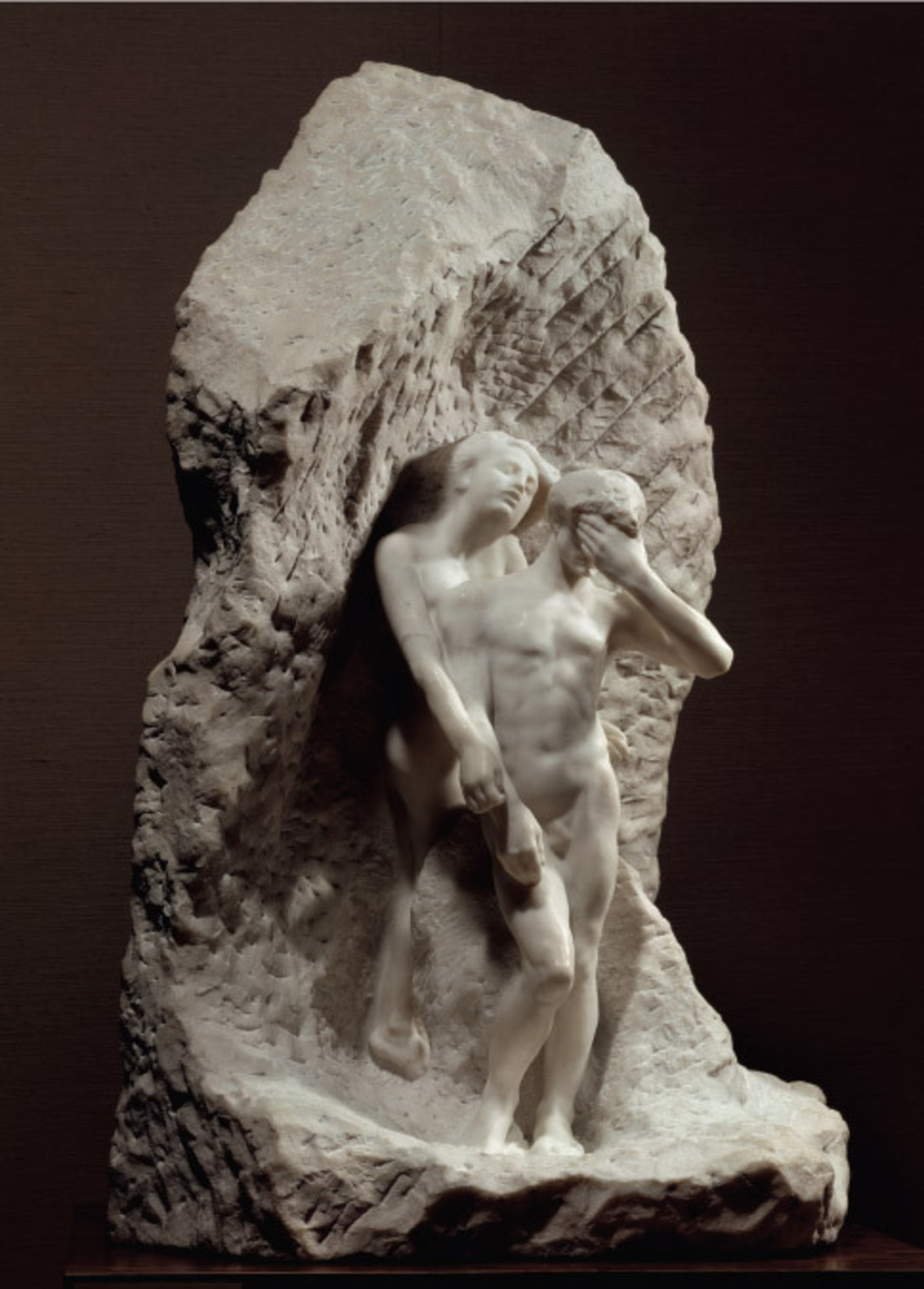 "Auguste Rodin, Orpheus and Euridice, 1893, marble, 50 x 30 x 28""."