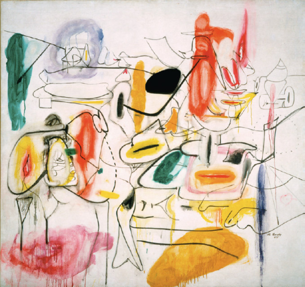 "Arshile Gorky, Painting, ca. 1944, oil on canvas, 65 3⁄4 x 70 1⁄4""."