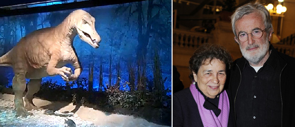 Left: A dinosaur. (Photo: Lisa Liebmann) Right: Dealer Marian Goodman and artist James Coleman. (Photo: Didier Plowy)