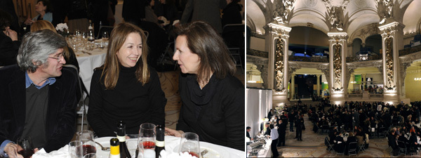 Left: Artist Giuseppe Penone, Marian Goodman Gallery's Agnès Fierobe, and collector Sylvie Winckler. Right: A view of the dinner for Christian Boltanski's opening for Monumenta. (Photos: Didier Plowy)