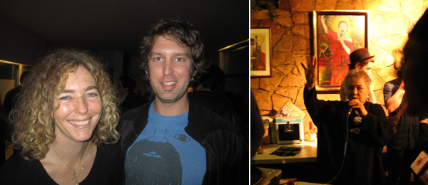 Left: Artists Stanya Kahn and Marc Horowitz. Right: The hostess at Dinner House M.