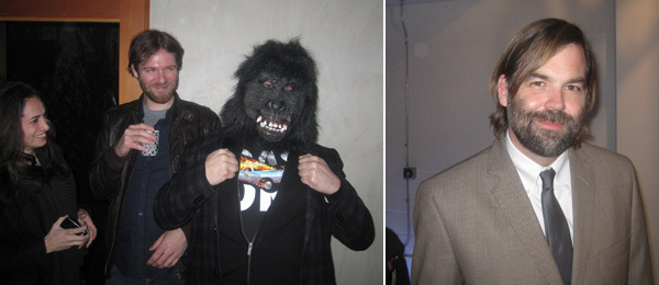 Left: A man in a gorilla suit. Right: Marc Foxx's Rodney Hill.