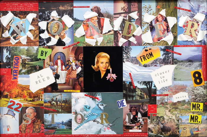 "Allen Ruppersberg, Cover Art (Wonder Series), 1985, mixed-media collage, 40 x 60""."