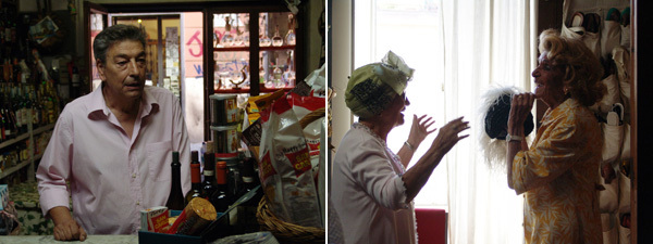 Gianni Di Gregorio, Mid-August Lunch, 2008, stills from a color film, 75 minutes. Left: Gianni (Gianni Di Gregorio). Right: Aunt Maria  (Maria Calì) and Gianni's mother (Valeria De Franciscis).