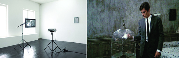 "Left: View of ""Lisa Tan,"" 2010. Right: Lisa Tan, Les Samouraïs, 2010, still from a color video, 3 minutes 36 seconds."