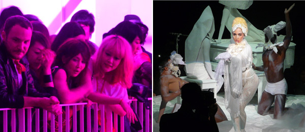 Left: Actress Rinko Kikuchi (right) at the GAGAKOH! show in Tokyo. Right: Lady Gaga and Terence Koh. (All photos: Michael Bilsborough)
