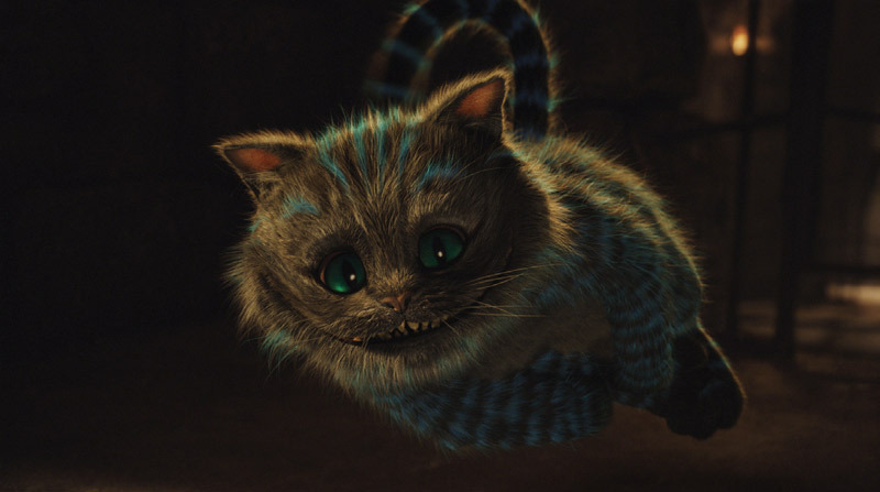 Tim Burton, Alice in Wonderland, 2010, still from a color video converted to 3-D, 108 minutes. The Cheshire Cat (voice by Stephen Fry).