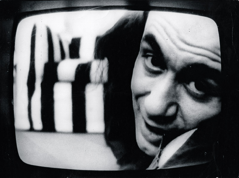 Vito Acconci, Theme Song, 1973, still from a black-and-white video, 33 minutes.