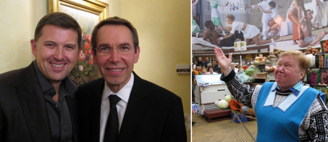 Left: Collector Oleg Baybakov with Jeff Koons. Right: Lyuba. (Photos: Kate Sutton)