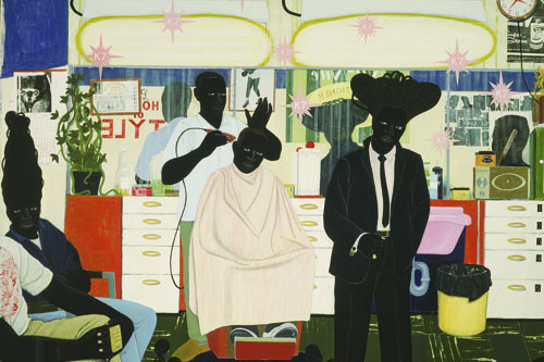 "Kerry James Marshall, De Style, 1993, acrylic and collage on canvas, 8'8"" x 10'2""."