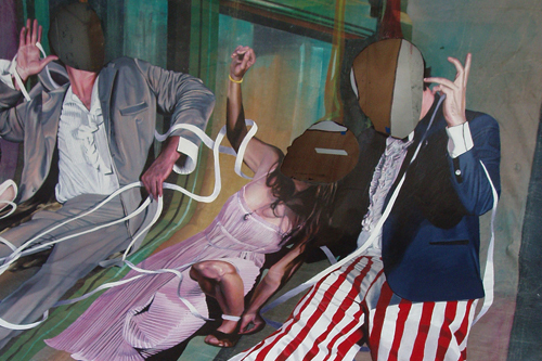 "Jim Shaw, Ticker-Tape Laocoon (detail), 2008, acrylic and oil on canvas, 25' x 24' 5""."