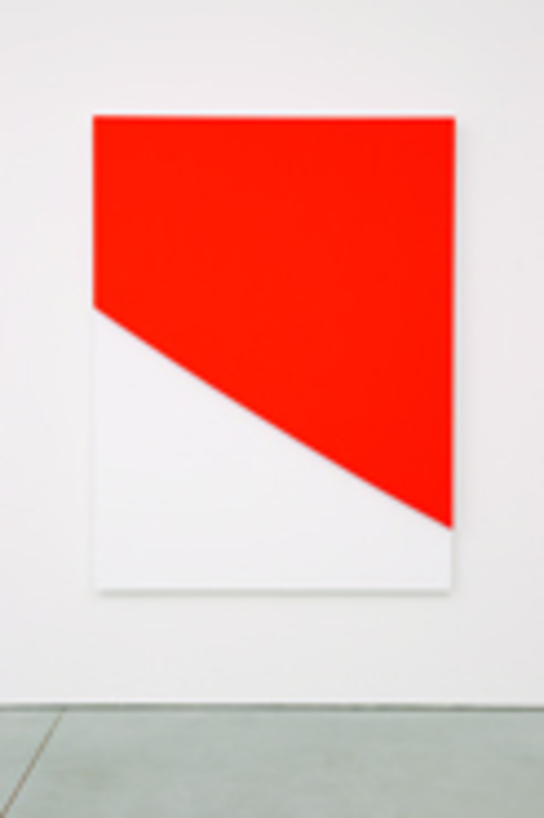 "Ellsworth Kelly, Red Curve in Relief 2009, oil on canvas, two joined panels. 78 x 58 x 2 5/8""."