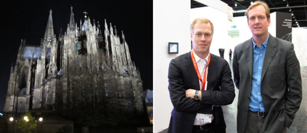 Left: Cologne Cathedral. Right: Art Cologne artistic director Daniel Hug with 1301PE's Brian Butler.