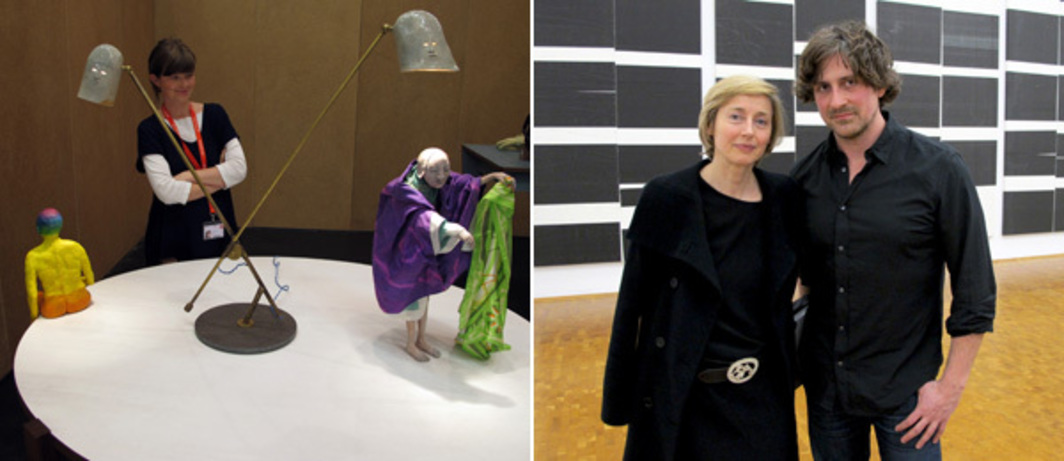 Left: Dealer Kate MacGarry at Art Cologne. Right: Dealer Gisela Capitain with artist Wade Guyton.