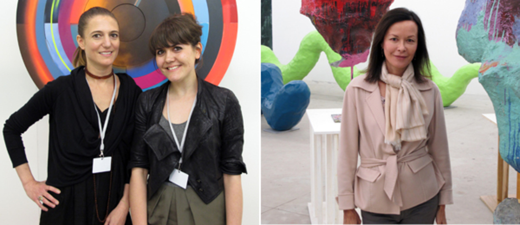 Left: Dealers Pilar Corrias and Isabella Maidment at Art Brussels. Right: Dealer Almine Rech.