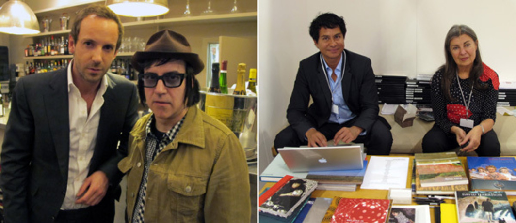 Left: Collector Charles Riva and artist Andreas Hofer. Right: Dealers Glenn Scott Wright and Victoria Miro at Art Brussels.