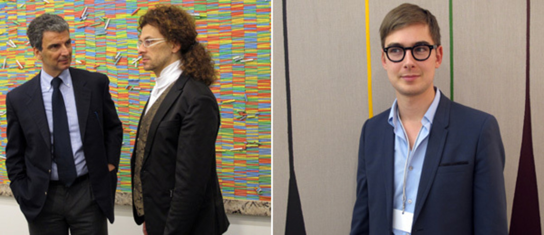 Left: Galleria Continua's Lorenzo Fiaschi (right) at Art Brussels. Right: Lisson Gallery's Alex Logsdail at Art Brussels.