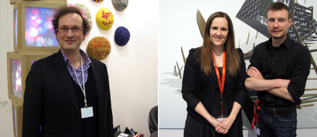 Left: Aeroplastics Contemporary's Jerome Jacobs at Art Brussels. Right: Dealers Britta Handrup and Daniel Schmidt at Art Cologne.