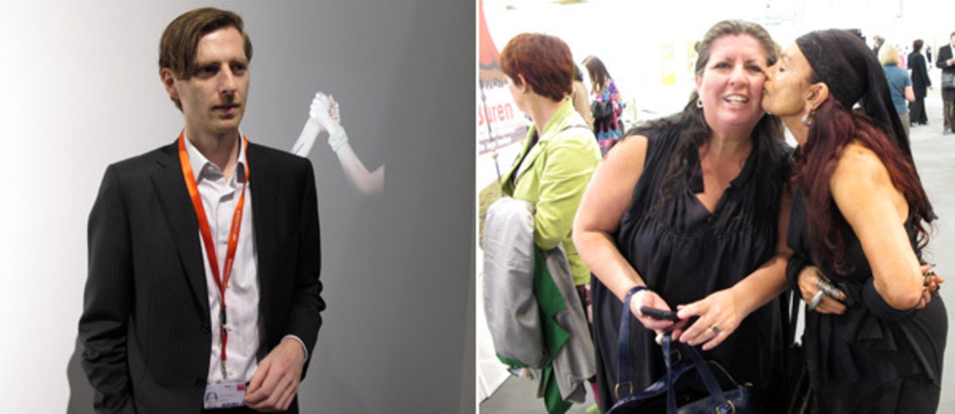 Left: Dealer Sandro Angelo Parrotta at Art Cologne. Right: Collectors Shirley Morales and Michèle Lamy at Art Brussels.
