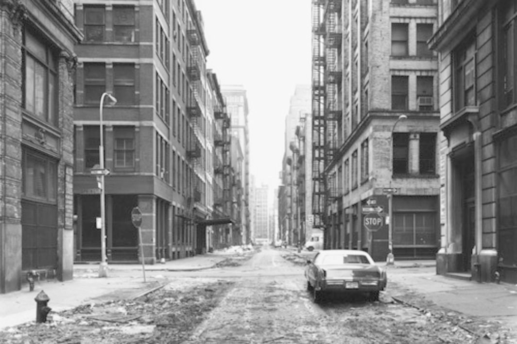 "Thomas Struth, Crosby Street, New York/Soho, 1978, black-and-white photograph, 17 1/4 x 22""."