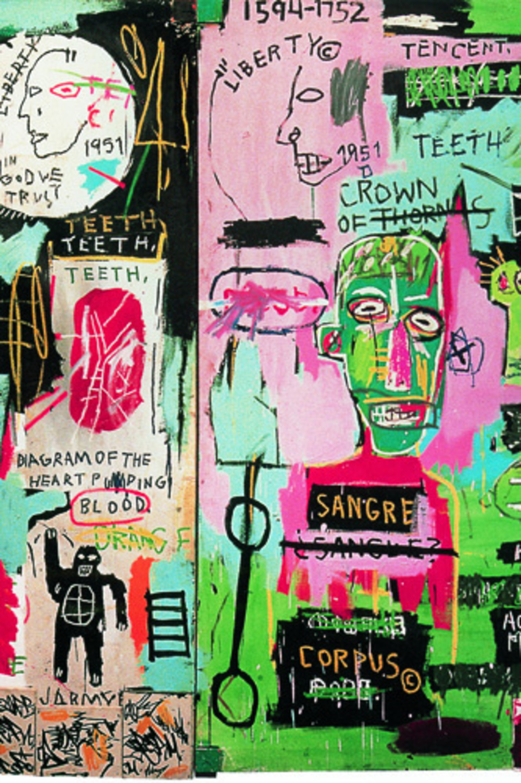 "Jean-Michel Basquiat, in Italian, 1983, acrylic, oil stick, marker, and assemblage on canvas, wood mounts, two panels, overall 88 5/8 x 80""."
