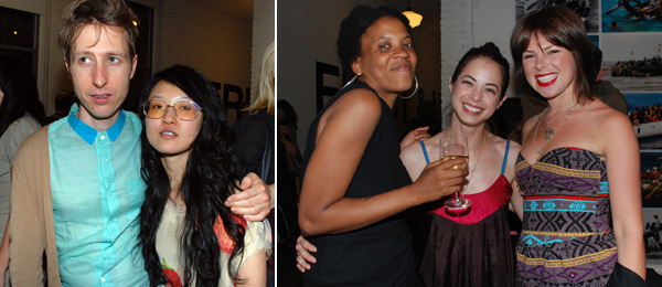 Left: Artist Debo Eilers with filmmaker Jane Jo. Right: Artist Xaviera Simmons, Blind Spot editor Margaret Clinton, and Haunch of Venison's Emma Hall.