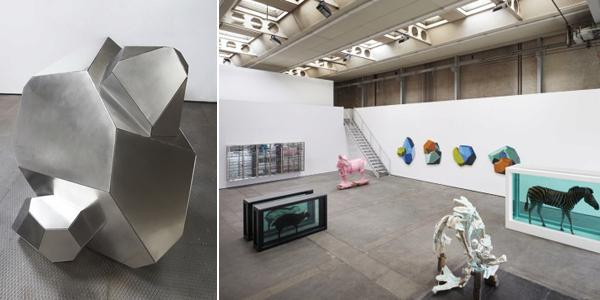 "Left: Michael Joo, Imperfected (Imago #1), 2010, stainless steel, 60 x 55 x 60"". Right: View of ""Have You Ever Really Looked at the Sun?,"" 2010. From left: Damien Hirst, Invasion, 2009; Damien Hirst, The Black Sheep with Golden Horns, 2009; Michael Joo, Doppelganger (Pink Rocinante), 2009; Michael Joo, Herkimer Diamond (Manheim), 2010; Michael Joo, Acropora, 2010; Damien Hirst, The Incredible Journey, 2008. (Photos: Peter Mallet)"