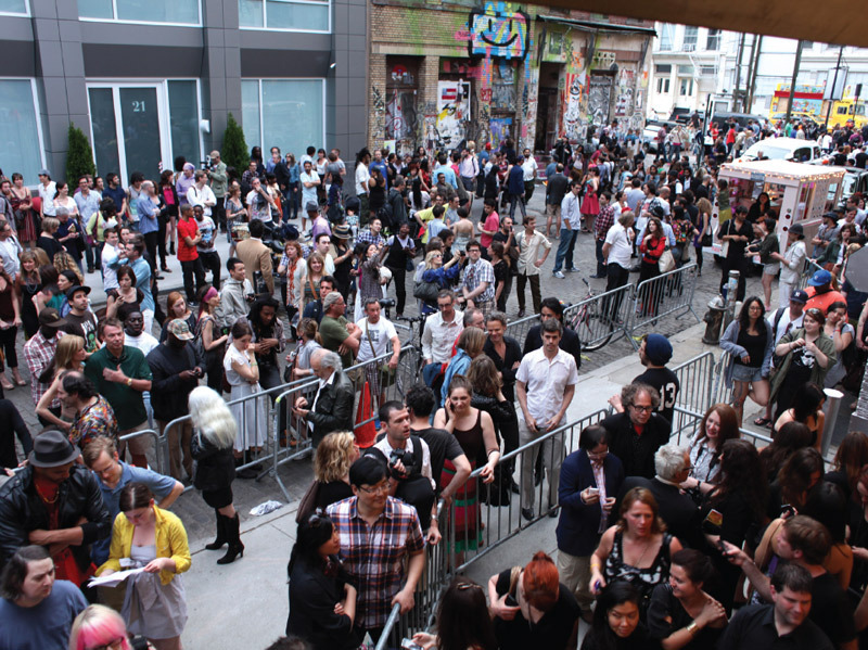 "Crowd outside Deitch Projects for the opening of Shepard Fairey's ""May Day,"" New York, May 1, 2010. Photo: Delphine Ettinger."