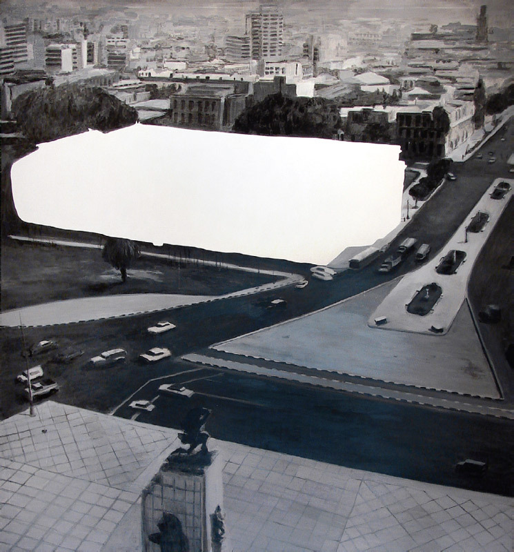 "Sandra Gamarra, The Erased Art Museum (d'aprés Emilio Hernández Saavedra, 1970), 2008–2009, oil on canvas, 86 5/8 x 78 3/4"". From Micromuseo."