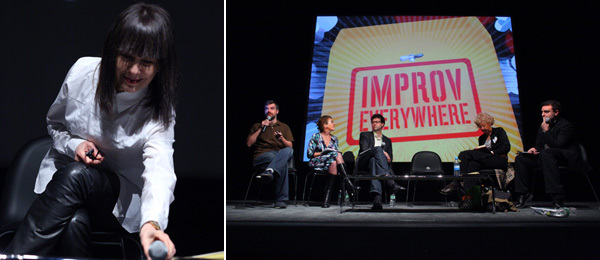 Left: Performa founder RoseLee Goldberg. Right: A view of the panel. (Photos: Paula Court)