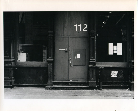The facade of 112 Workshop, Greene Street, New York, ca. 1970.