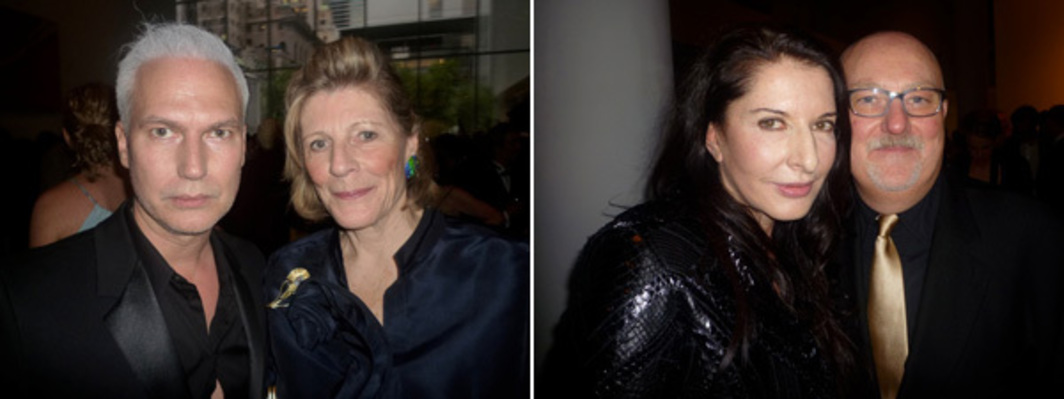 Left: MoMA PS1 director Klaus Biesenbach and MoMA president emeritus Agnes Gund. Right: Artist Marina Abramović and dealer Sean Kelly. (All photos: Linda Yablonsky)