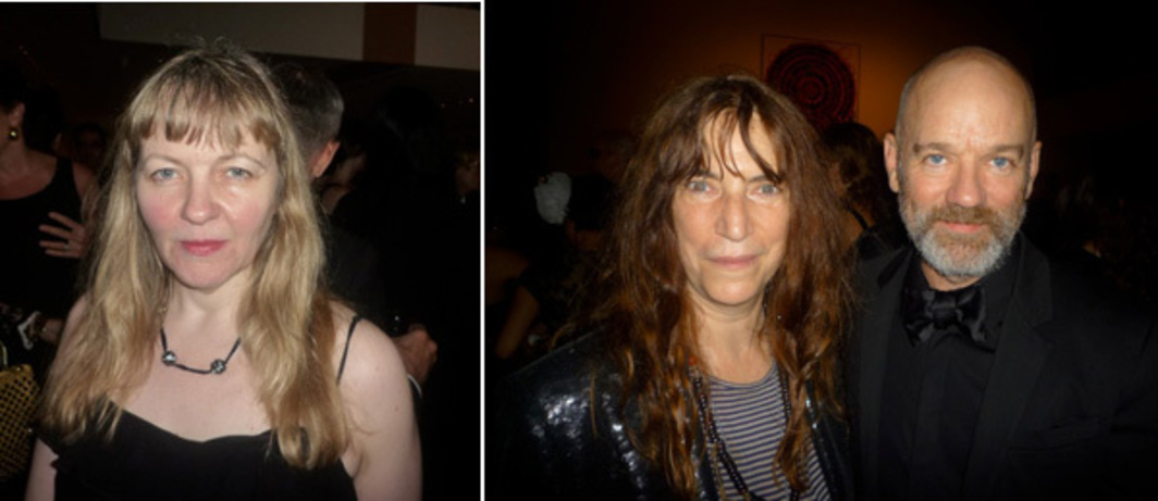 Left: Whitney curator Chrissie Iles. Right: Musicians Patti Smith and Michael Stipe.