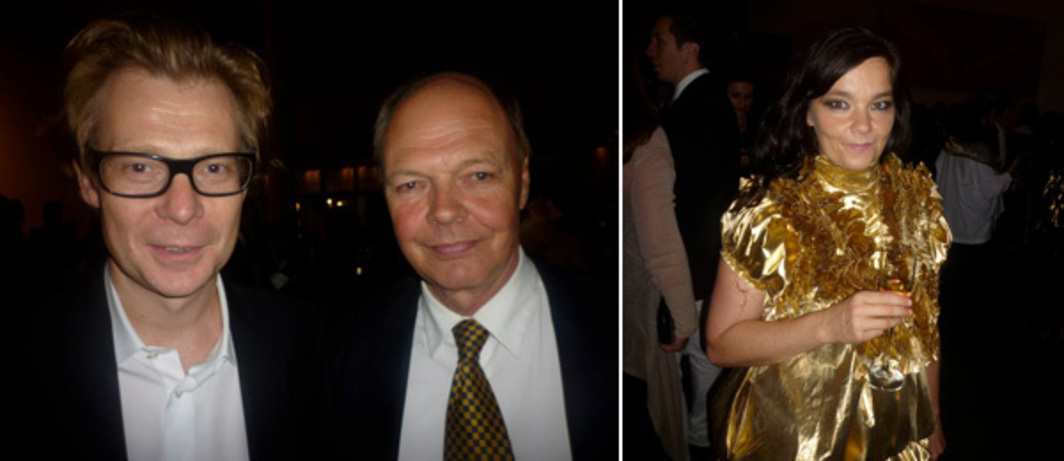 Left: Dia director Philippe Vergne with dealer Nicholas Logsdail. Right: Björk.