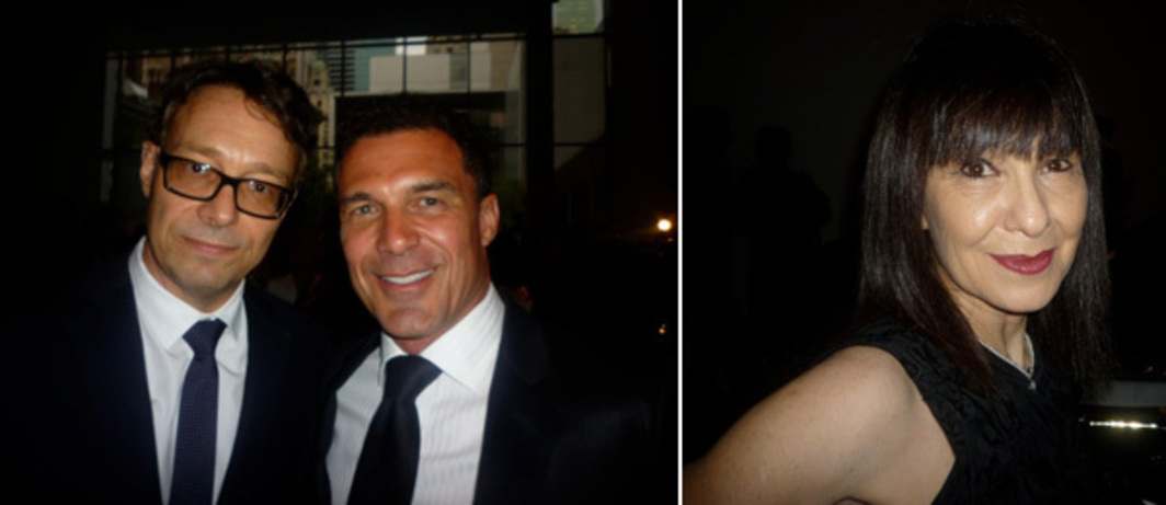 Left: Marco Brambilla & André Balazs. Right: Performa founder RoseLee Goldberg.