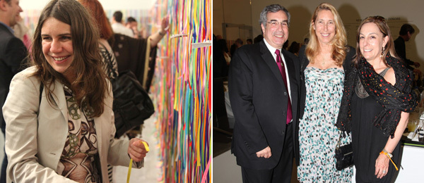 Left: Artist Rivane Neuenschwander. Right: MoMA PS1 trustee Philip E. Aarons, New Museum director Lisa Phillips, and New Museum trustee Shelley Fox Aarons. (All photos: David X. Prutting/Patrick McMullan)
