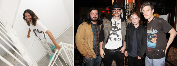 Left: Artist Eli Sudbrack. Right: Producer Carlos Quirarte, actor Justin Theroux, and artists Hanna Liden and Nate Lowman.