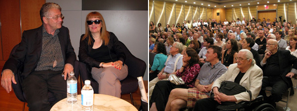 Left: Steven Watson and Bibbe Hansen. Right: The audience at the New York Public Library.