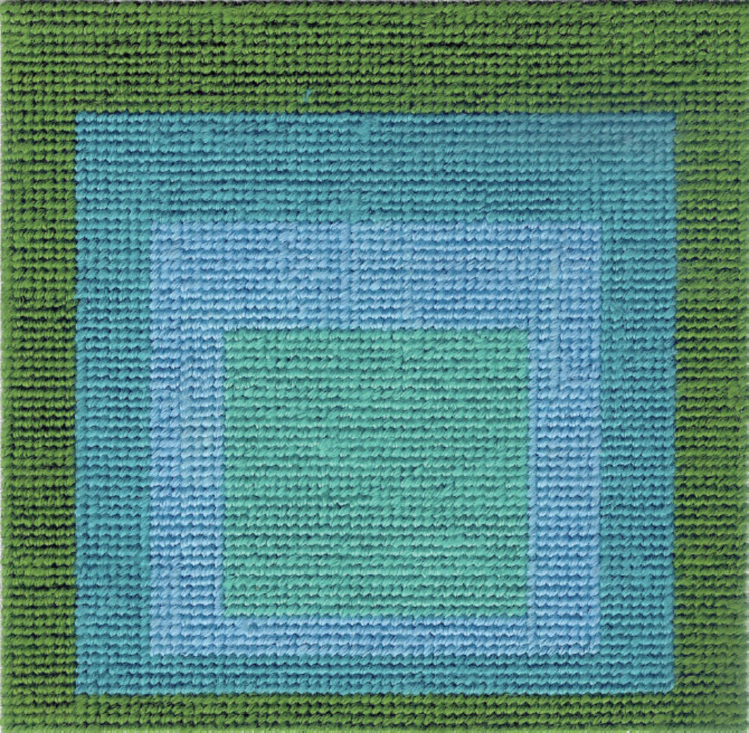 "Francesco Vezzoli, Homage to Josef Albers's ""Homage to the Square"" (Green), 1995, cotton embroidery on canvas, 5 1/8 x 5 1/8""."