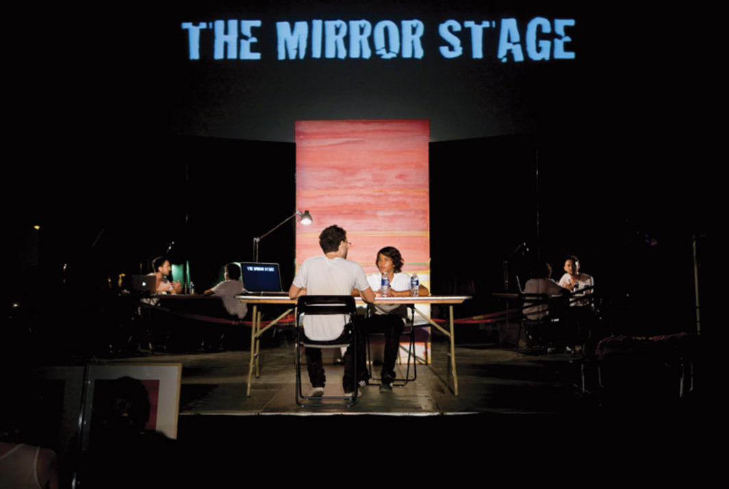 Simon Fujiwara, The Mirror Stage, 2009–. Performance view, Art Basel Miami Beach, December 3, 2009.