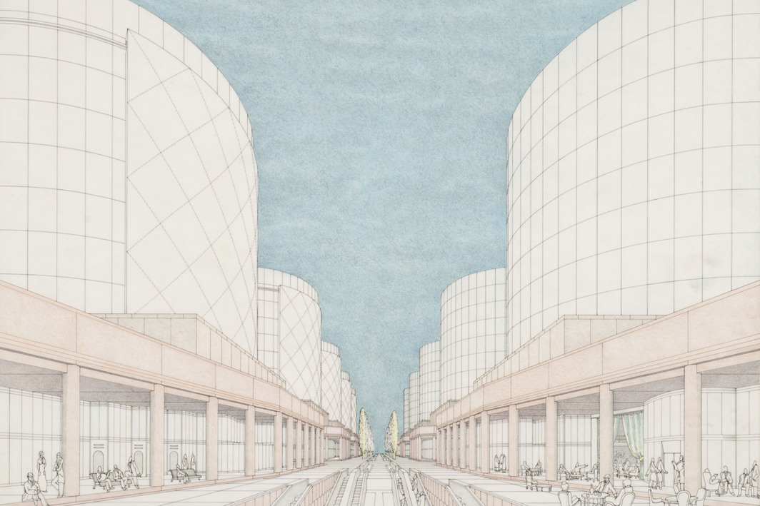 "James Stirling (Firm), Siemens AG Headquarters, Munich, Germany: perspective, 1969-70, ink, colored pencil, graphite on paper, 19 x 24""."